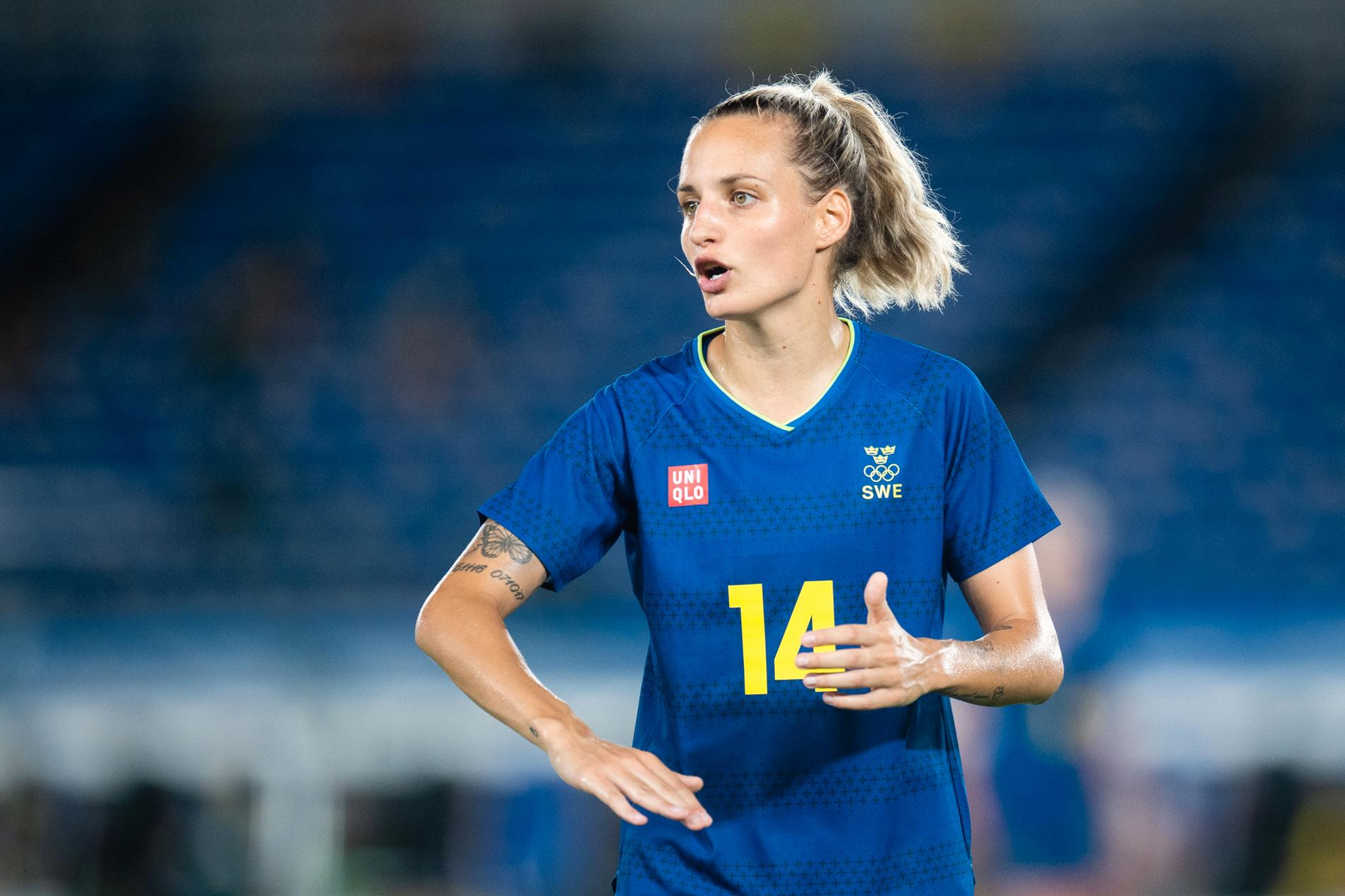 Nathalie Björn i Sveriges semifinal mot Australien.