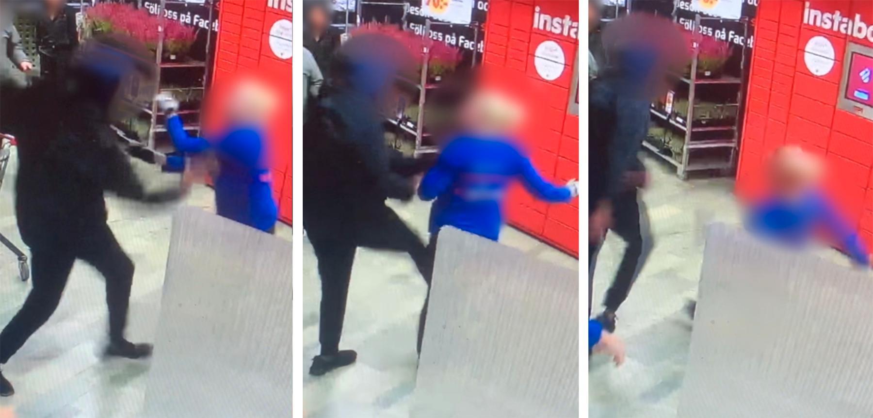 Butikens övervakningskamera fångade kalabaliken på film.