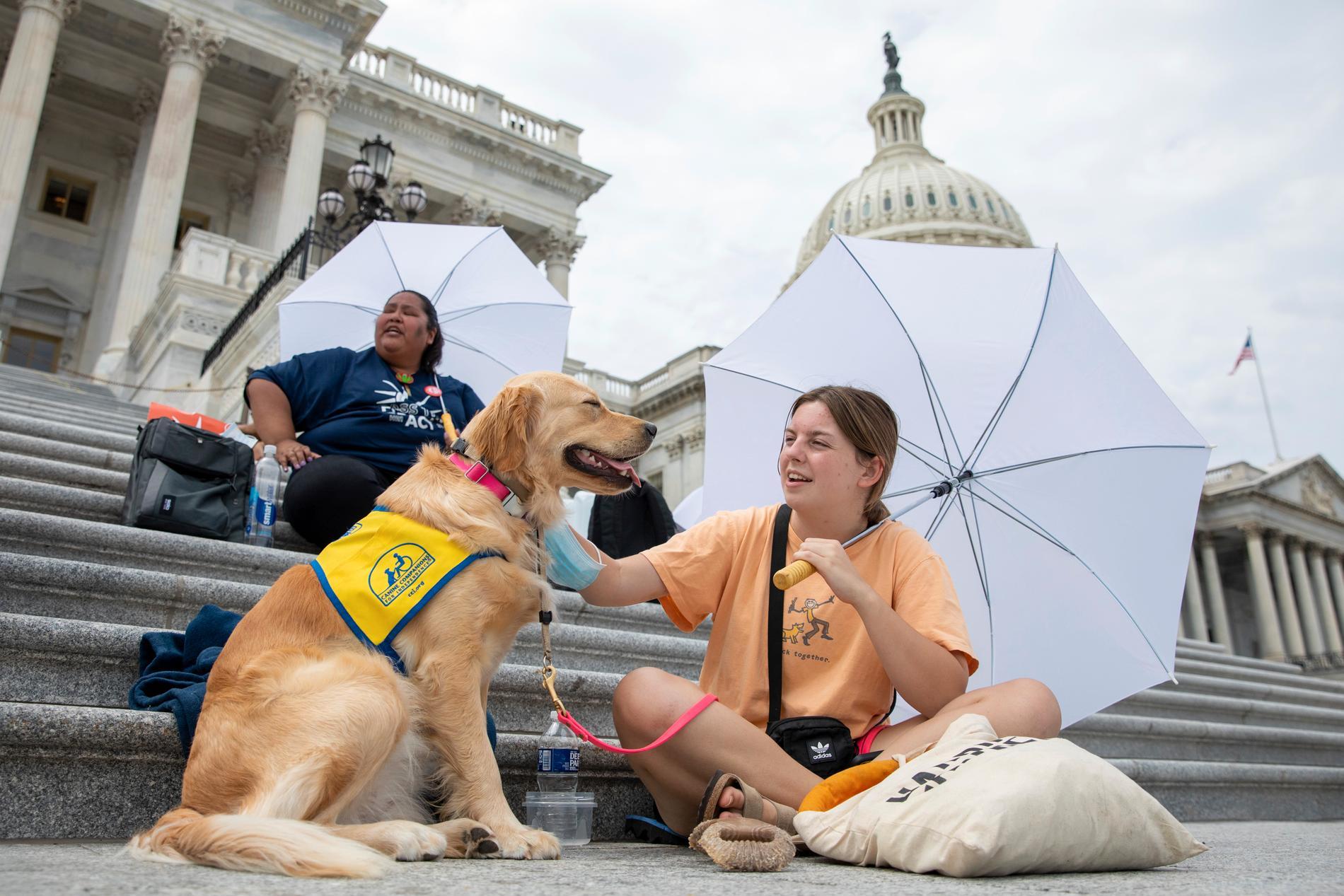 Casey Long och hunden Adrienne på trappan till USA:s kongress. Casey och andra demonstranter krävde på tisdagen att Joe Biden och hans regering gör mer för att undvika att miljontals amerikaner blir vräkta i spåren av pandemin.