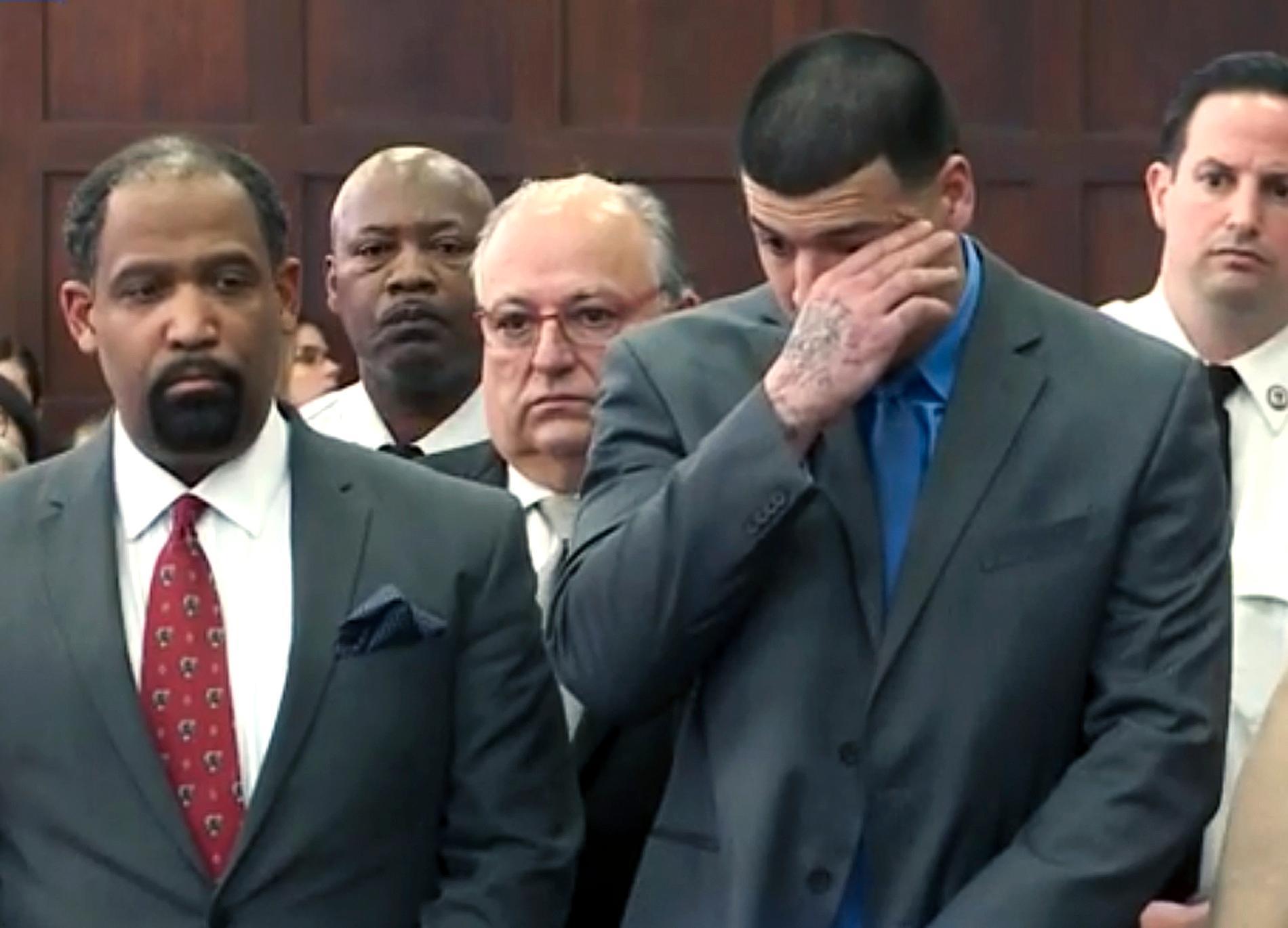 Aaron Hernandez under rättegången.