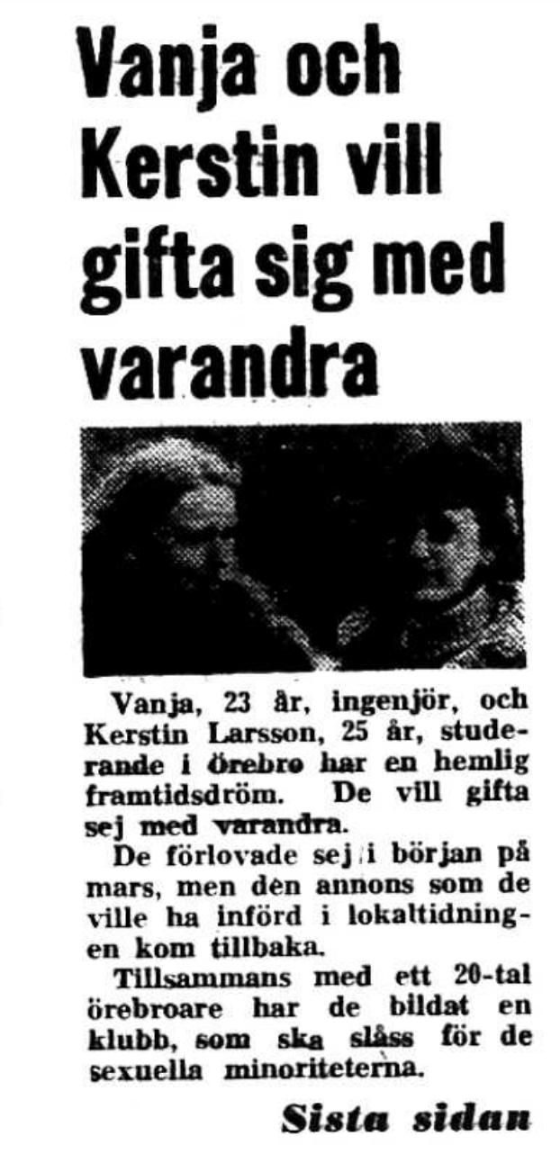Vanja och Kerstin hamnade på Aftonbladets förstasida 27 mars 1971.