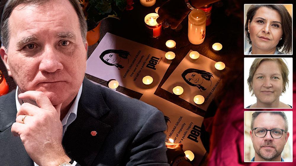 Vi kräver nu att Stefan Löfven tar avstånd från de ofattbara rättsstatskränkningar som framkommit hos Löfvens partikamrater i den socialdemokratiska regeringen på Malta, skriver  Abir Al-Sahlani (C) Karin Karlsbro (L) och Fredrick Federley (C).