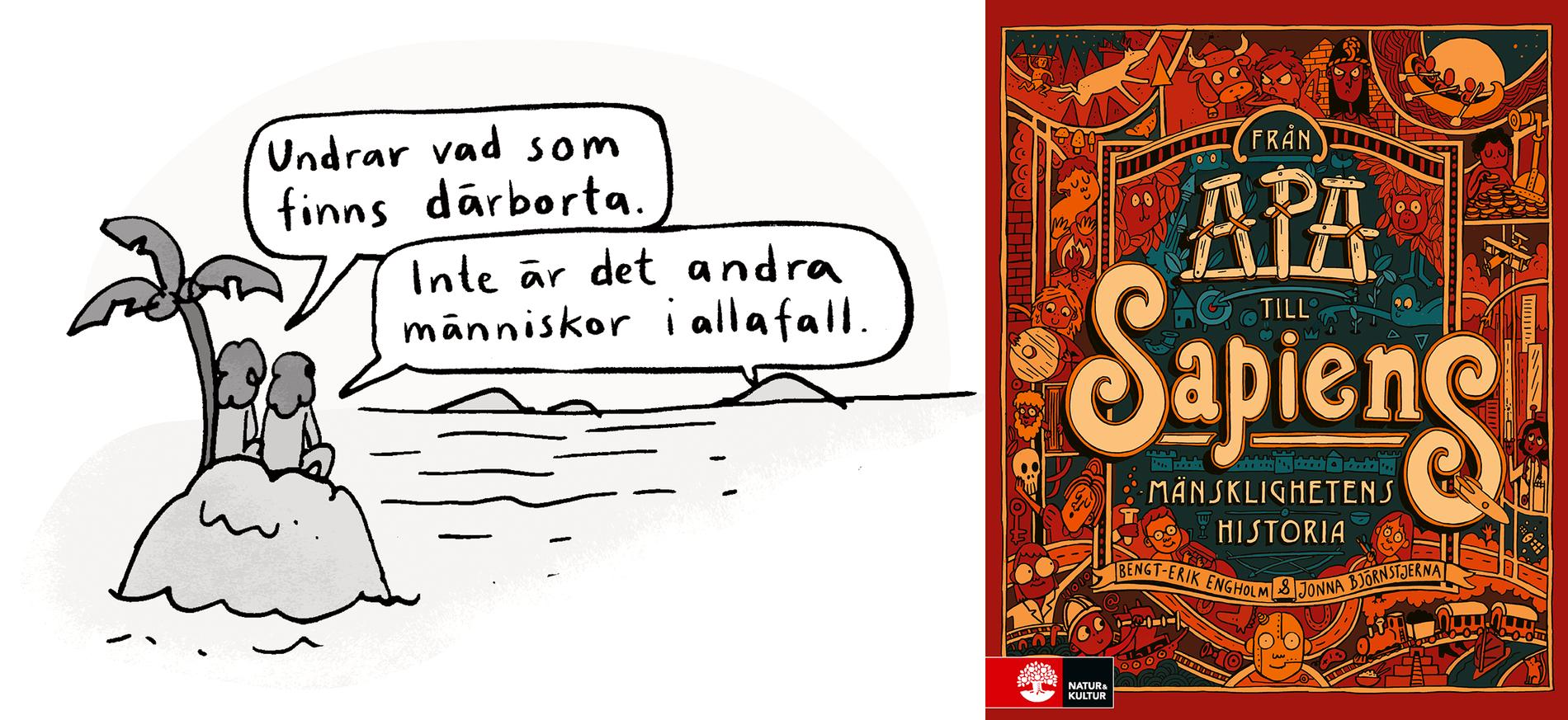 """Illustration av Jonna Björnstjerna ur boken """"Från apa till Sapiens""""."""