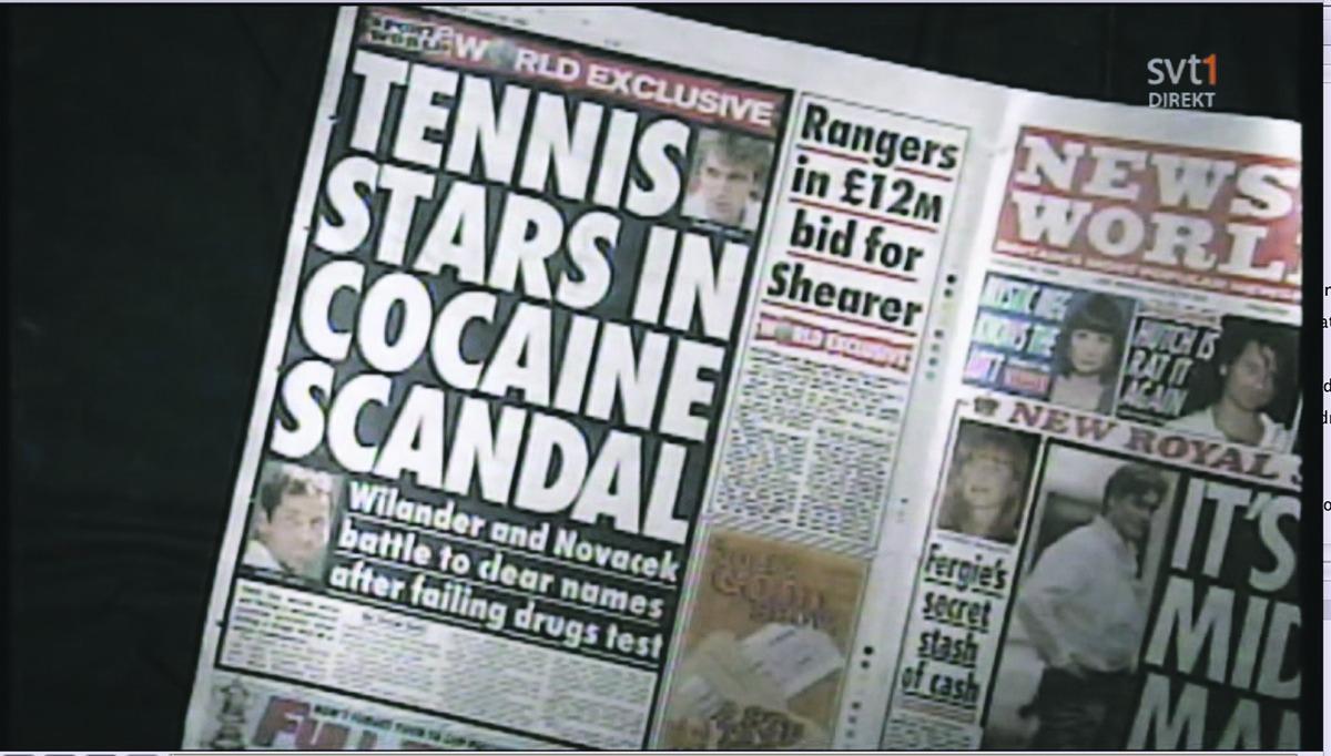 """Svarta skandalrubriker om kokainskandalen 1995 visades upp i """"Här är ditt liv""""."""