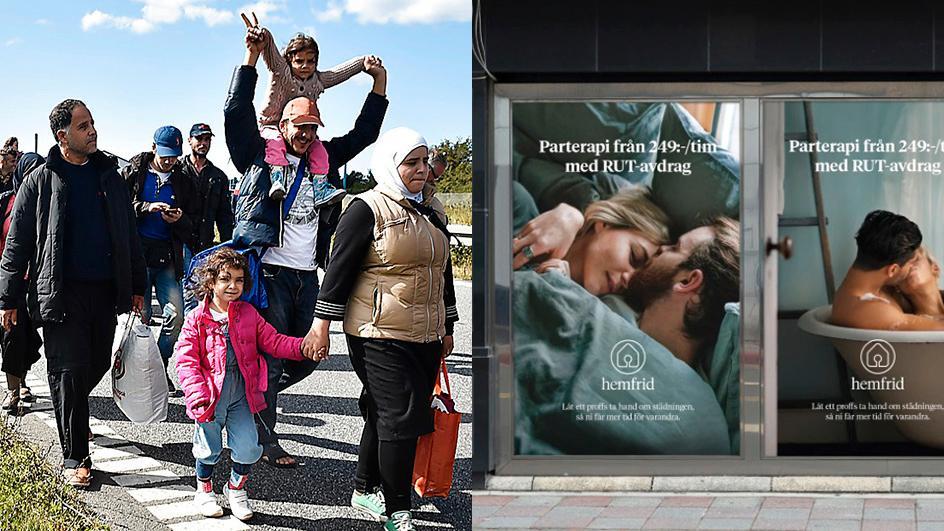 Migranter på väg genom Europa 2015 och Hemfrids annonskampanj.