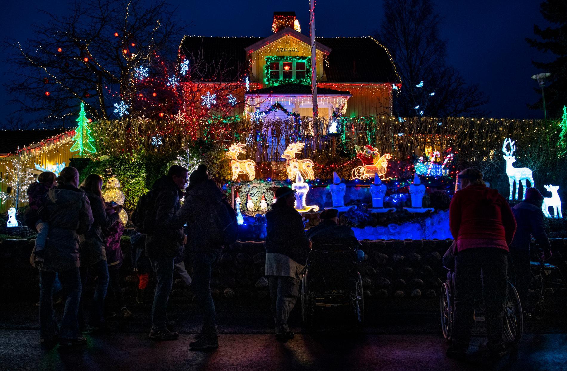Många kommer och tittar på julbelysningen.