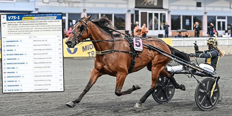 Sandra Eriksson och Swagger vid V75-segern i Boden. Nu har tränaren tvingats stryka sin häst inför finalen på lördag.