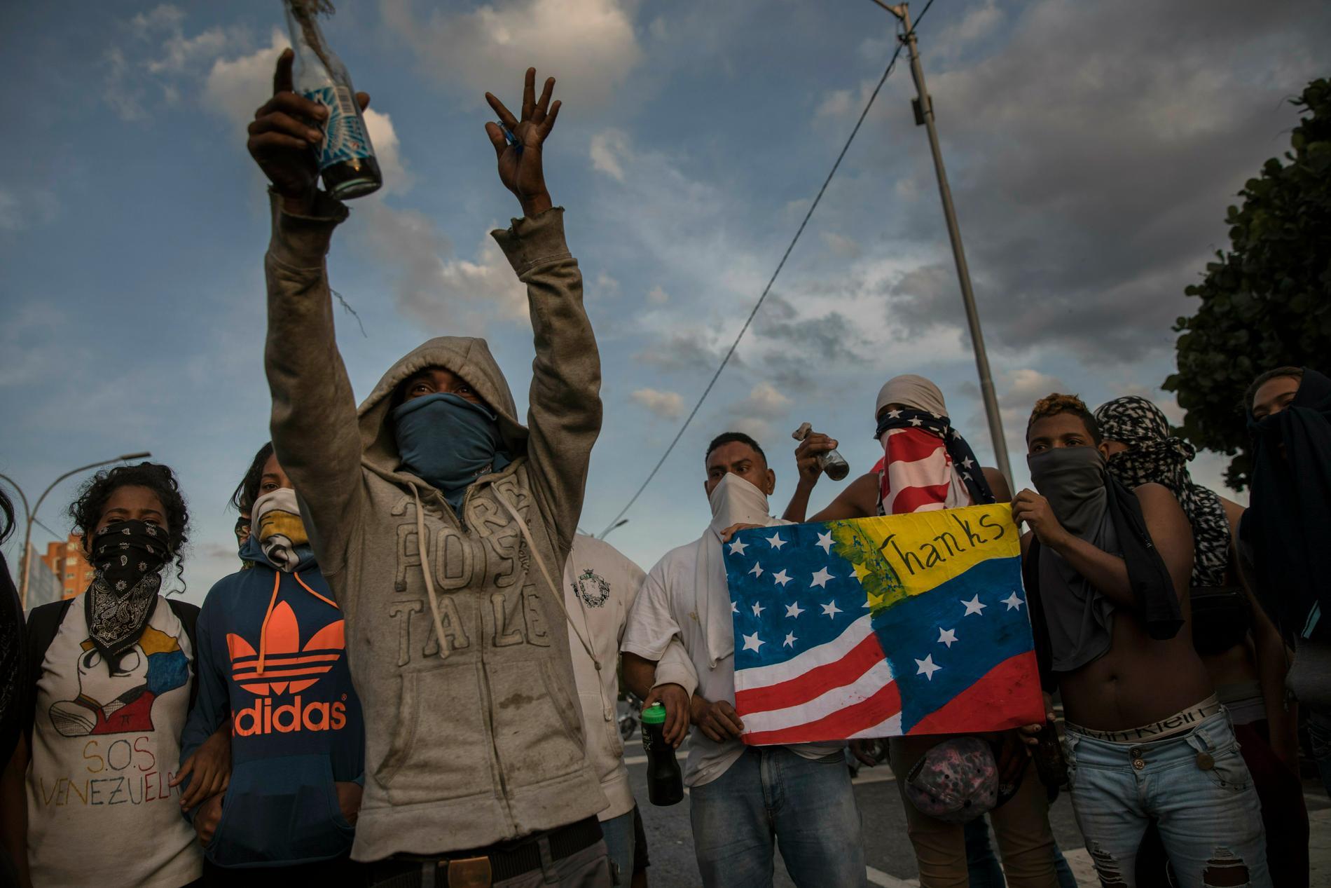 Protester mot Nicolás Maduros regim i Venezuelas huvudstad Caracas i helgen.