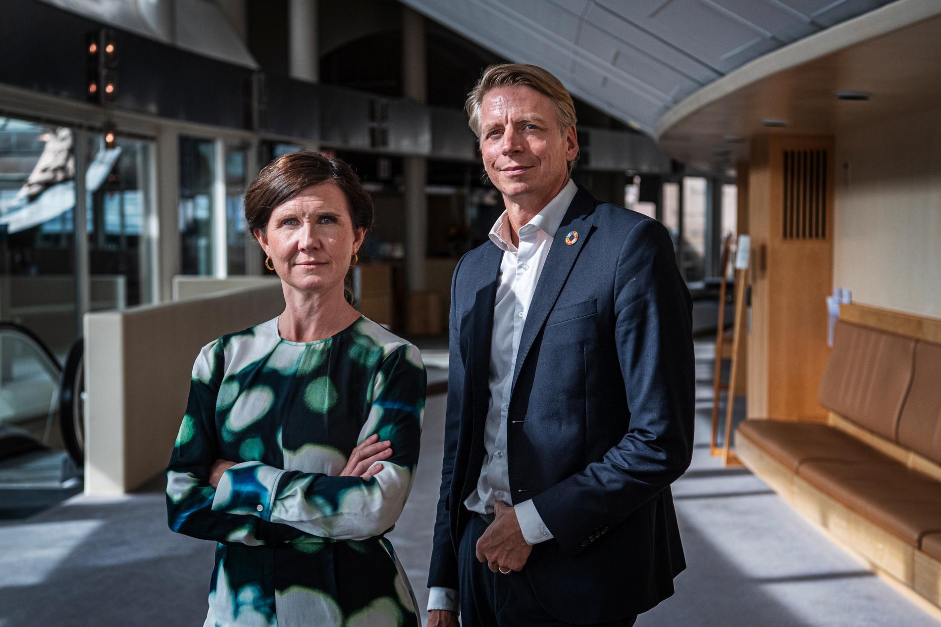 Miljöpartiets språkrör Märta Stenevi och Per Bolund.