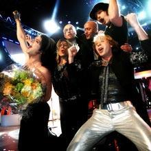 Så här glada blev The Ark när de vann Melodifestivalen 2007.