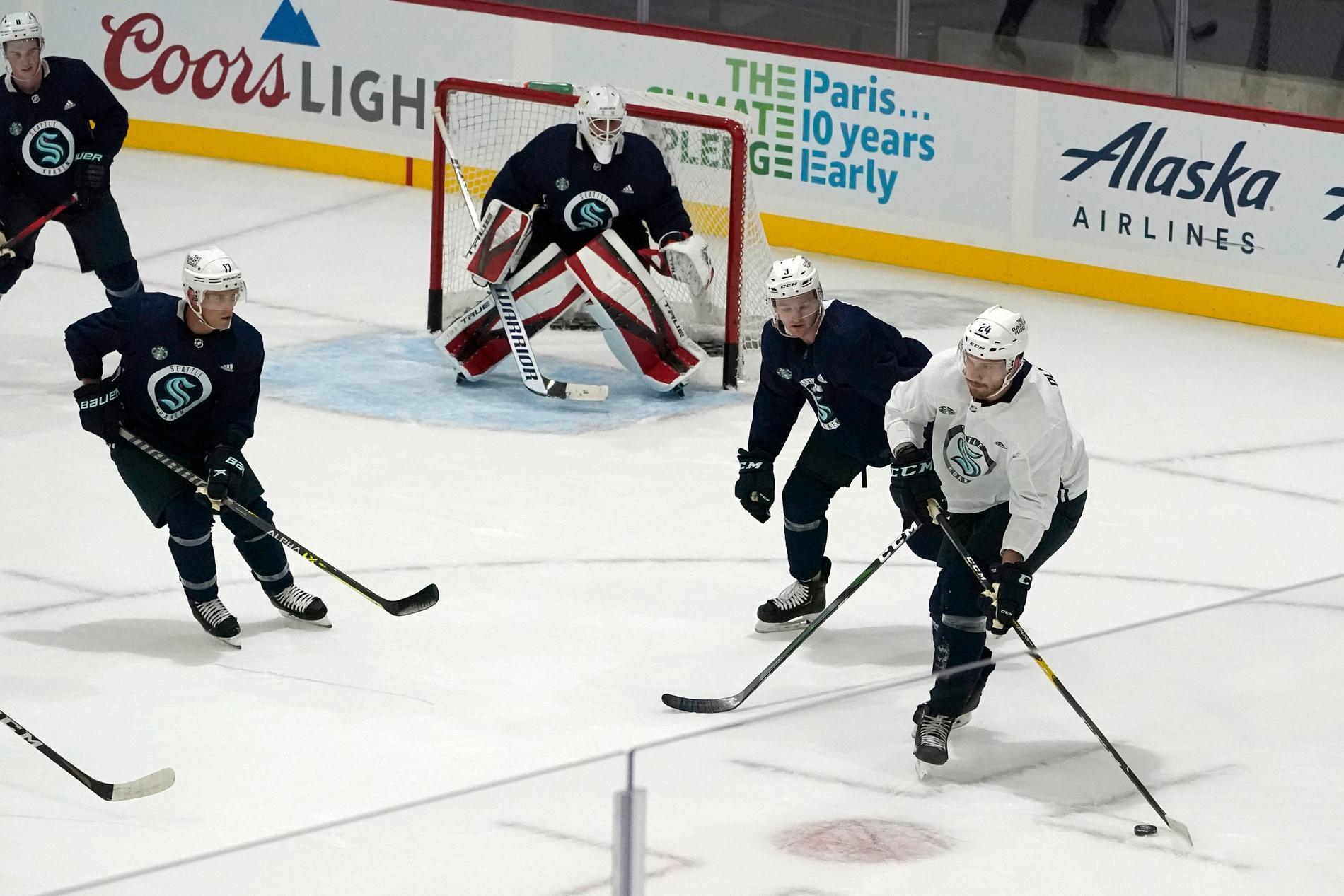 NHL:s senaste lag Seattle övar inför säsongpremiären. Arkivbild.