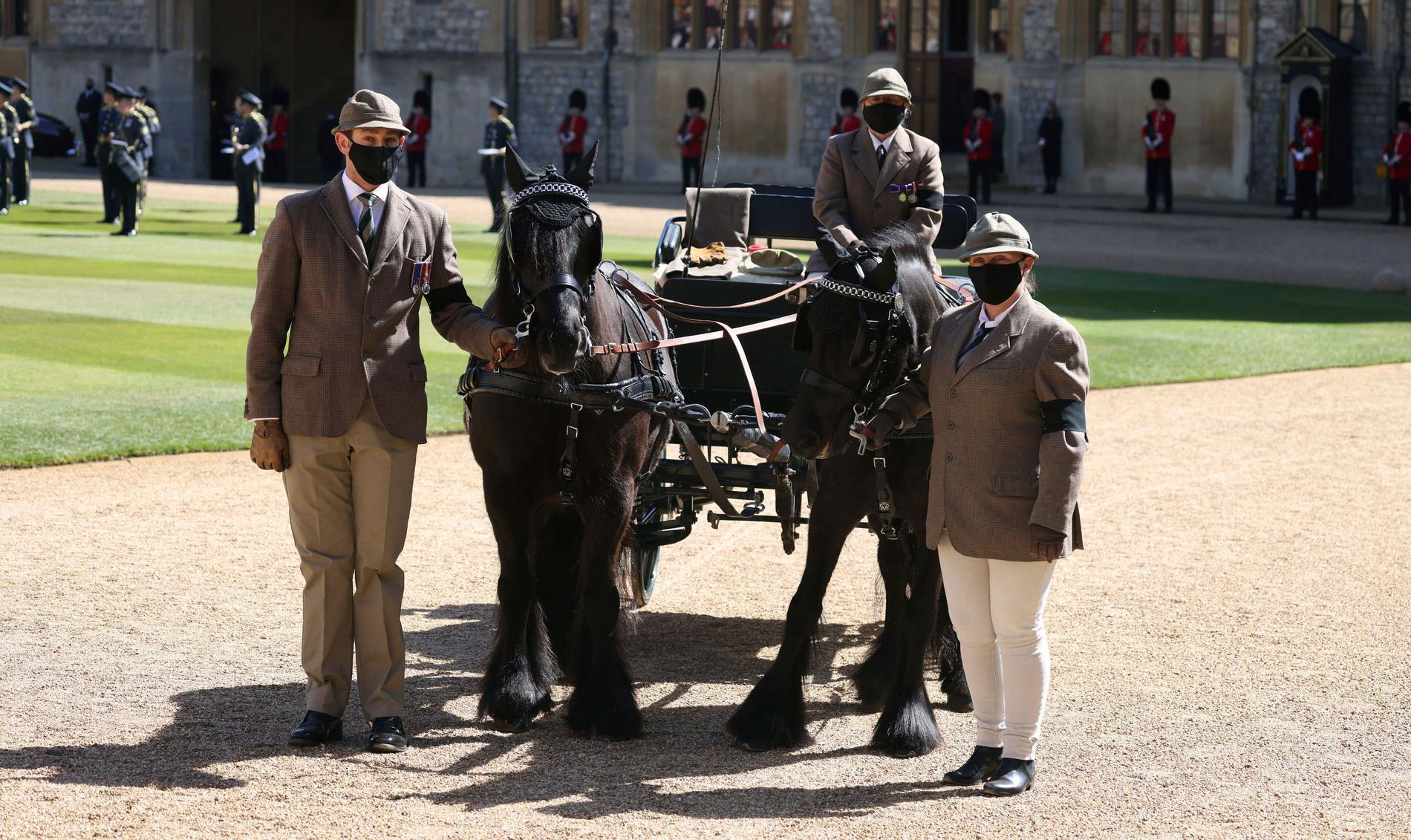 Prins Philips ekipage, med ponnyerna Balmoral Nevis och Notlaw Storm, deltog i dagens ceremoni.