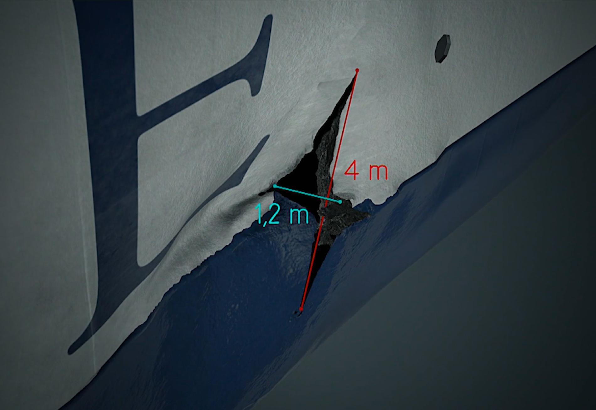 Skadan i Estonias skrov är fyra meter hög och 1,2 meter på bredaste punkten. Här åskådliggjord i en grafik.