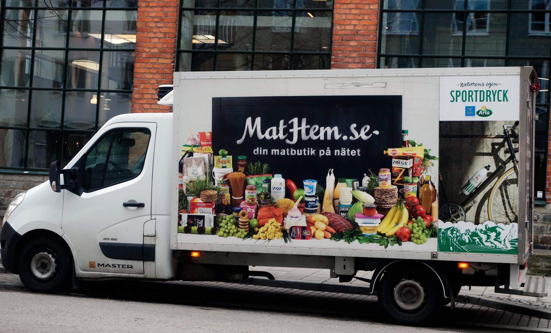 En Mathem-bil som levererar mat.
