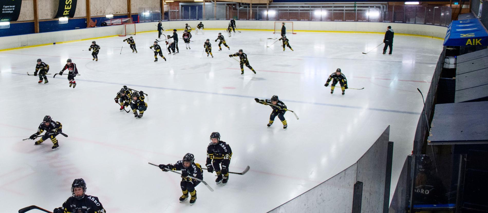 Barn tränar ishockey.