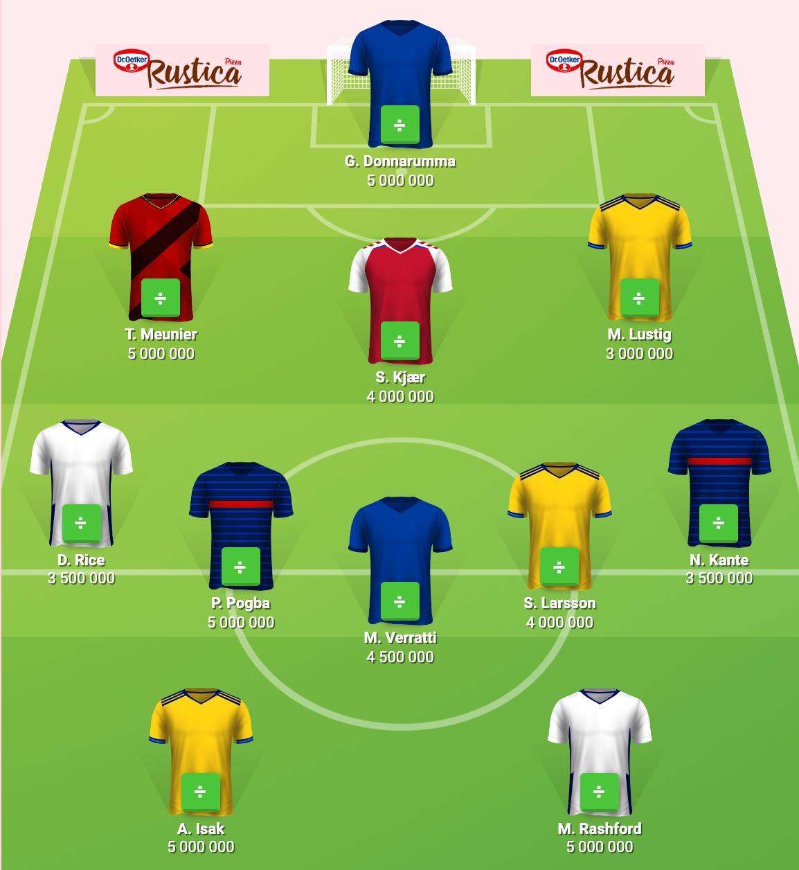 Per Bolunds EM-elva med de tre AIK-bekantingarna Lustig, Larsson och Isak tillsammans med ett gäng profiler.