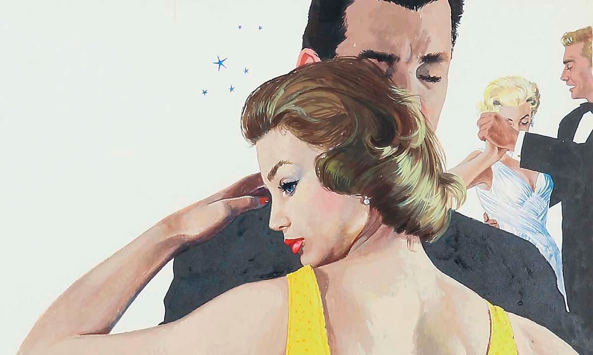 Dansande par, för Vecko-Revyn nr 21/1958, gouache på papp.