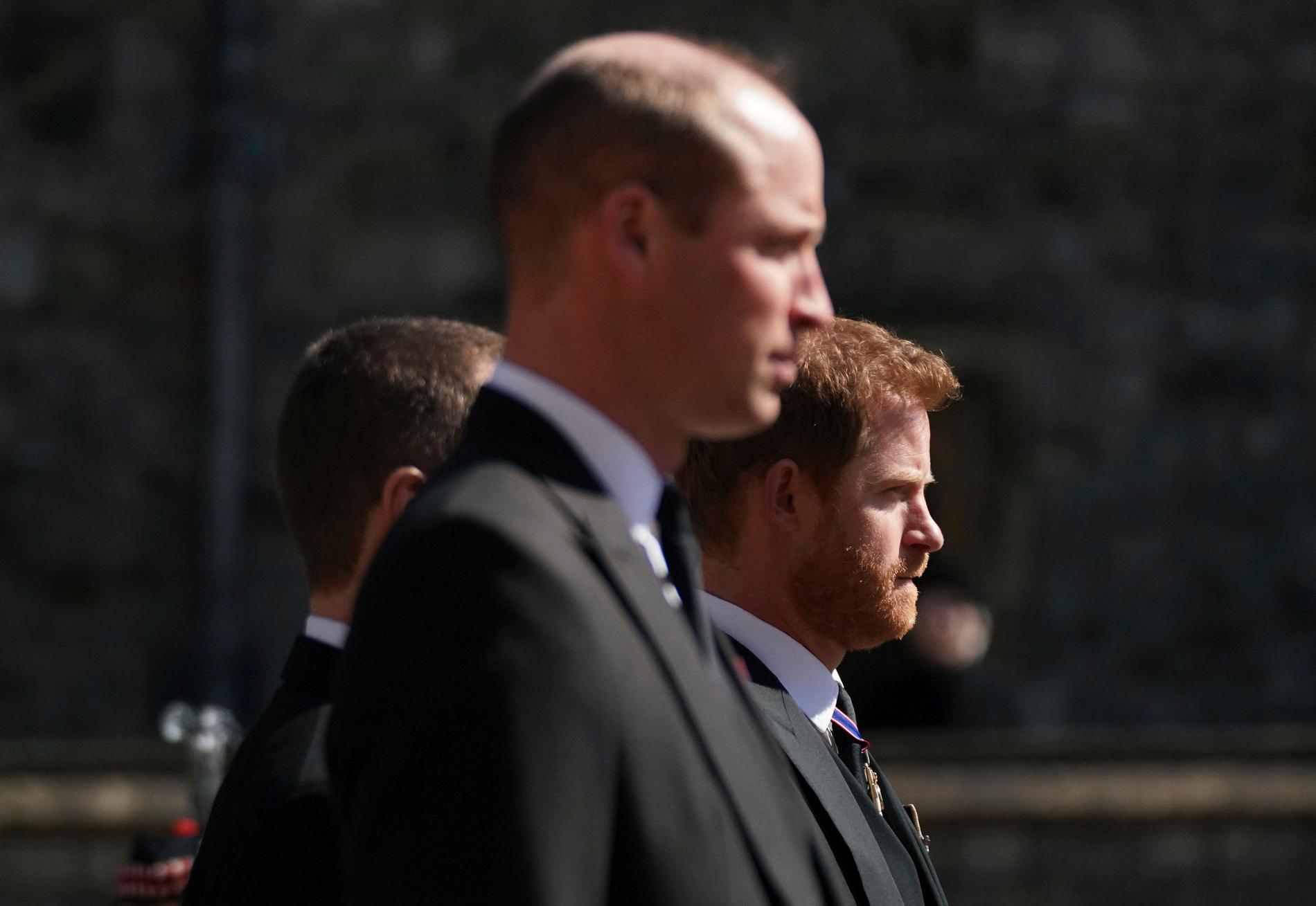 William och Harry på prins Philips begravning tidigare under året.