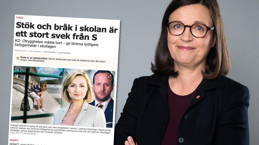 Med regeringens kommande reformer skapas bättre förutsättningar för att alla skolor är trygga och varje elev får studiero. Replik från Anna Ekström.