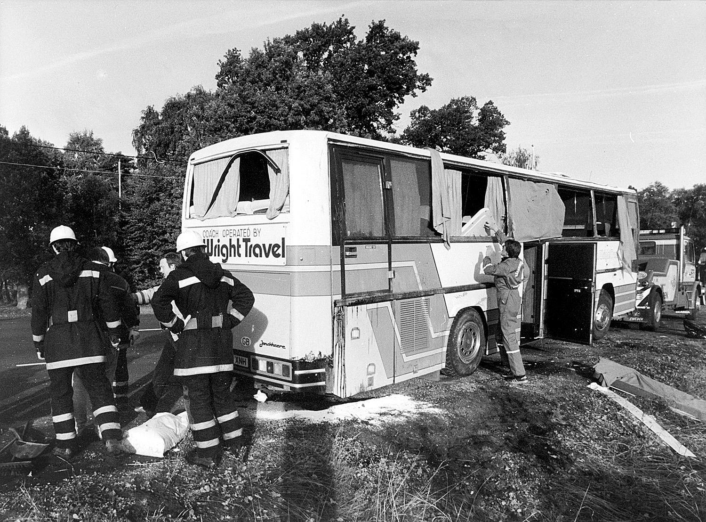 Bussolyckan i Småland 1986 där Metallicas basist Cliff Burton dödades.