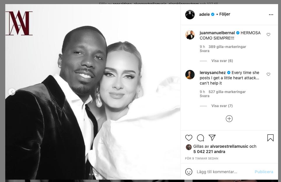 Bilden med pojkvännen Rich Paul är den tredje bilden i Adeles senaste Instagraminlägg.