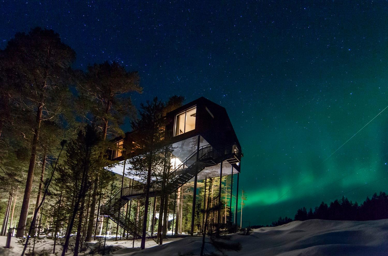 Treehotel ligger i Bodens kommun, där norrsken kan skådas på vintern.