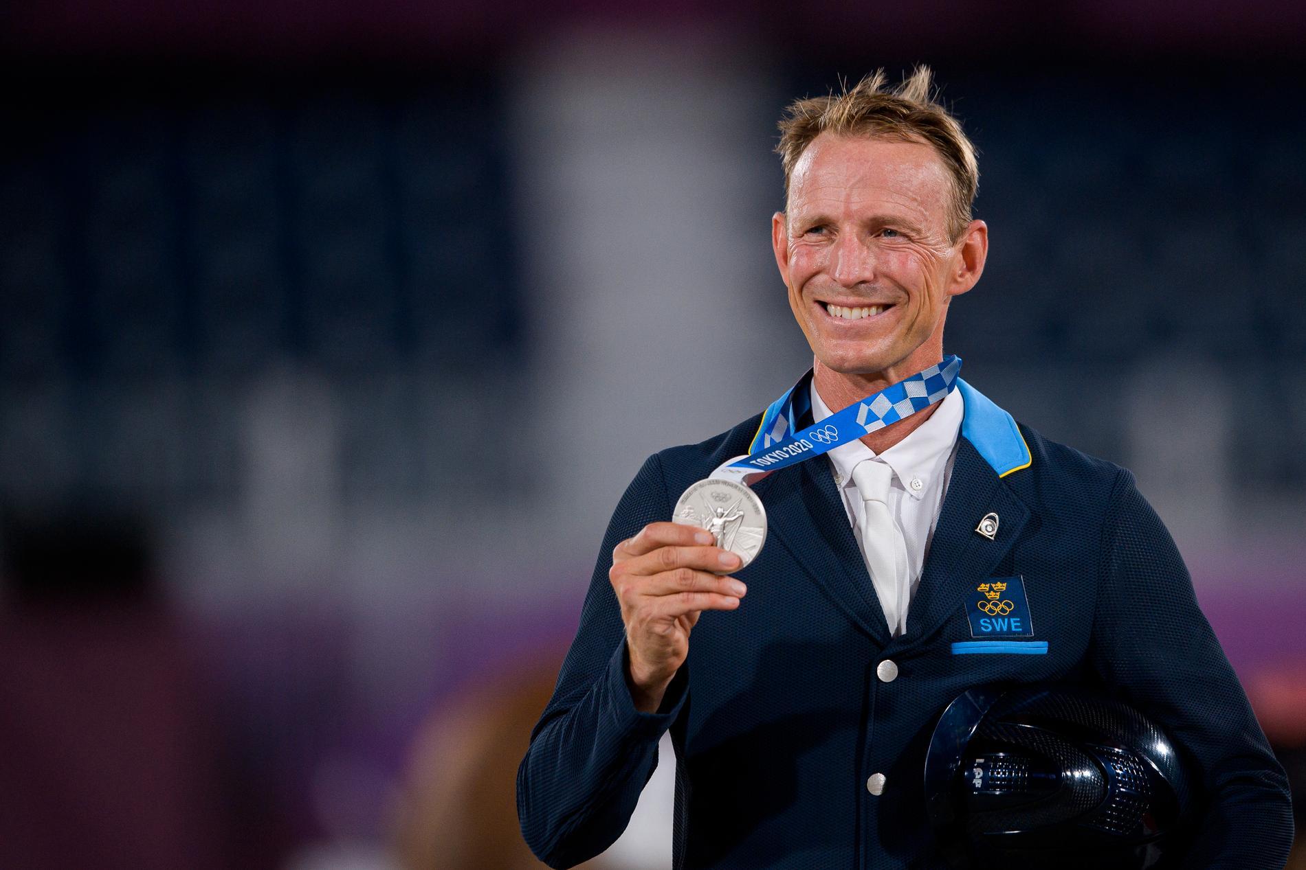 Peder Fredricson med silvermedaljen.