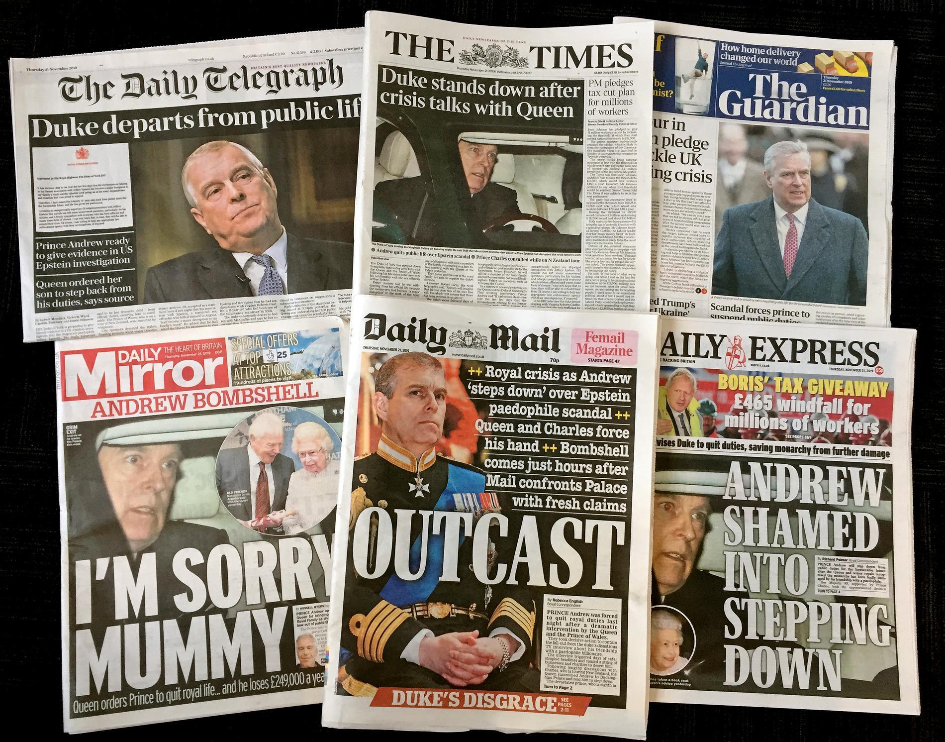 Förstasidan på flera brittiska tidningar 21 november 2019.