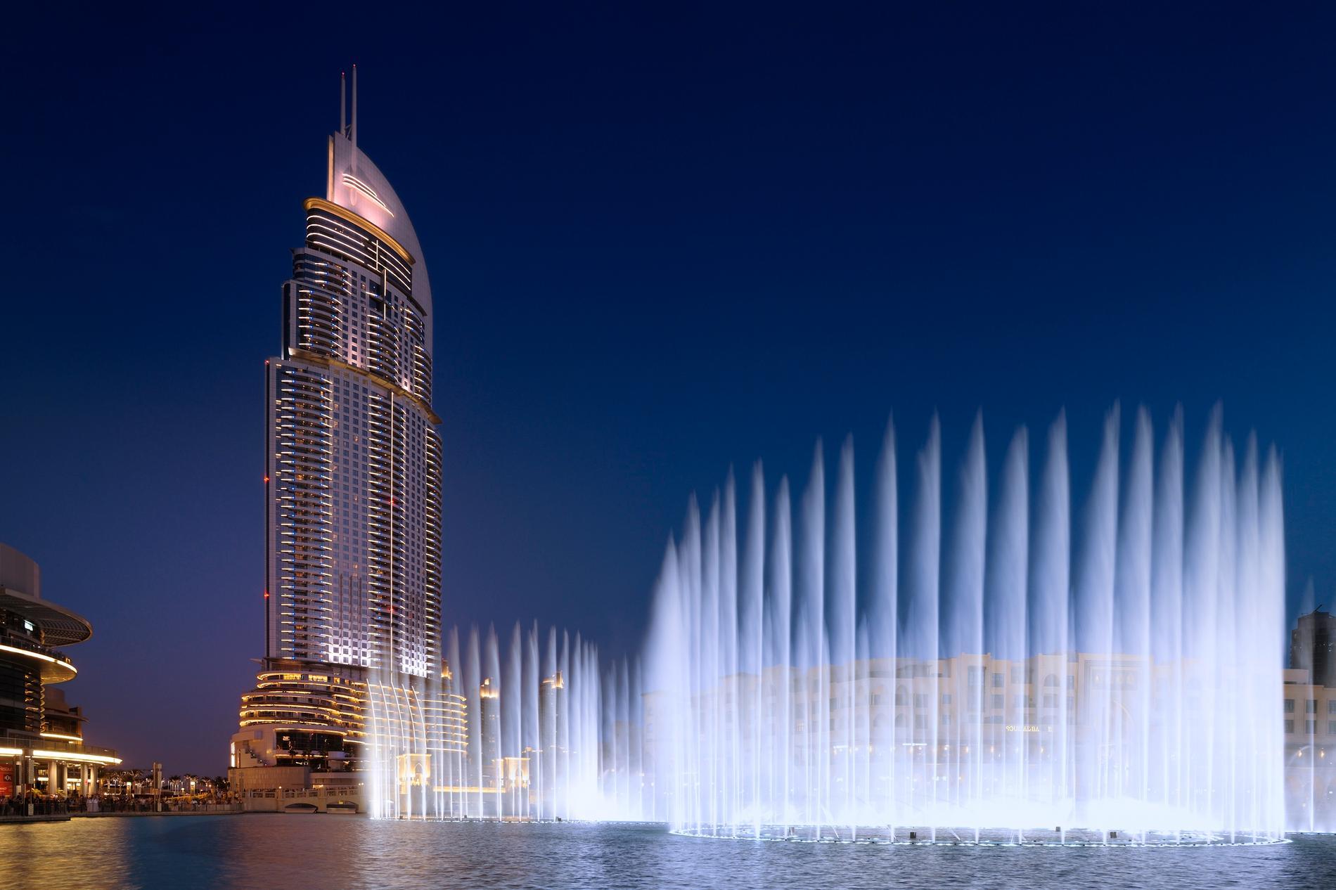 Från Adress Fountain View kan du se fontänen vid Dubai Mall samt Burj Kalifa.