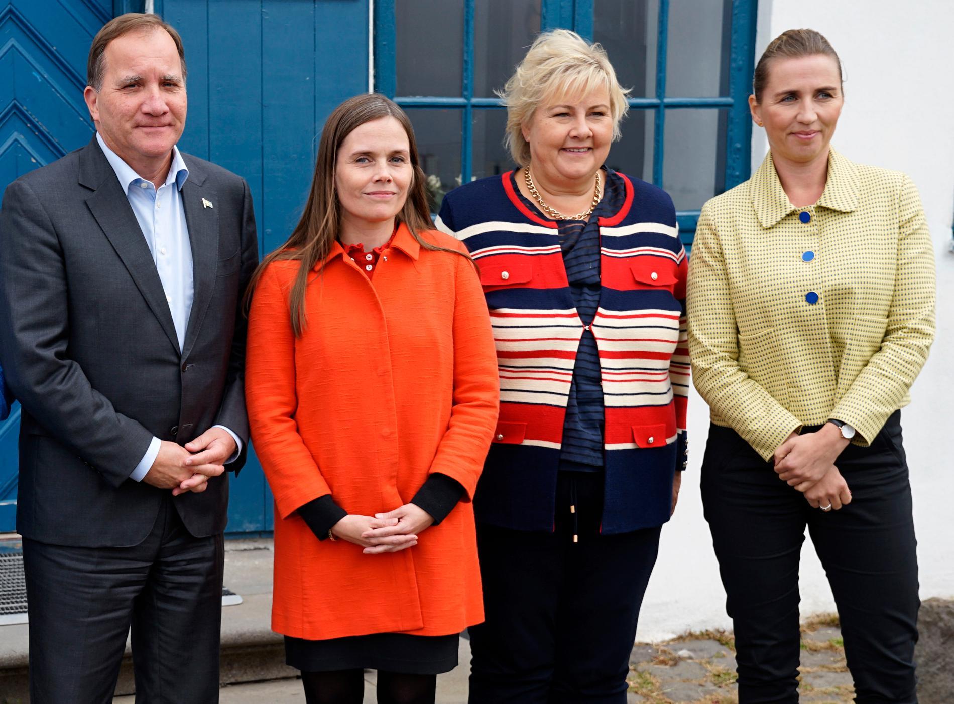 Sveriges Stefan Löfven, Islands Katrin Jakobsdottir, Norges Erna Solberg och Danmarks Mette Frederiksen.