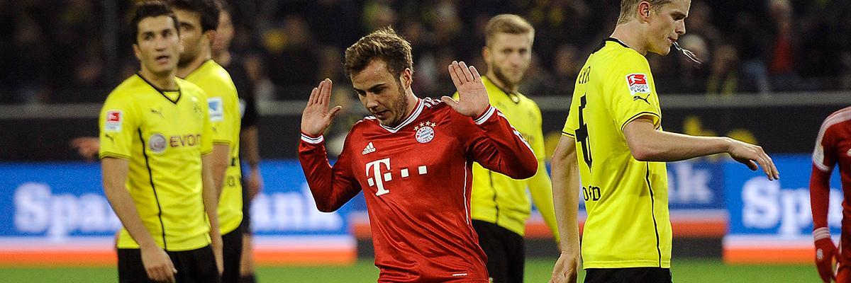 Götze vägrar fira ett mål mot sin gamla klubb Dortmund.