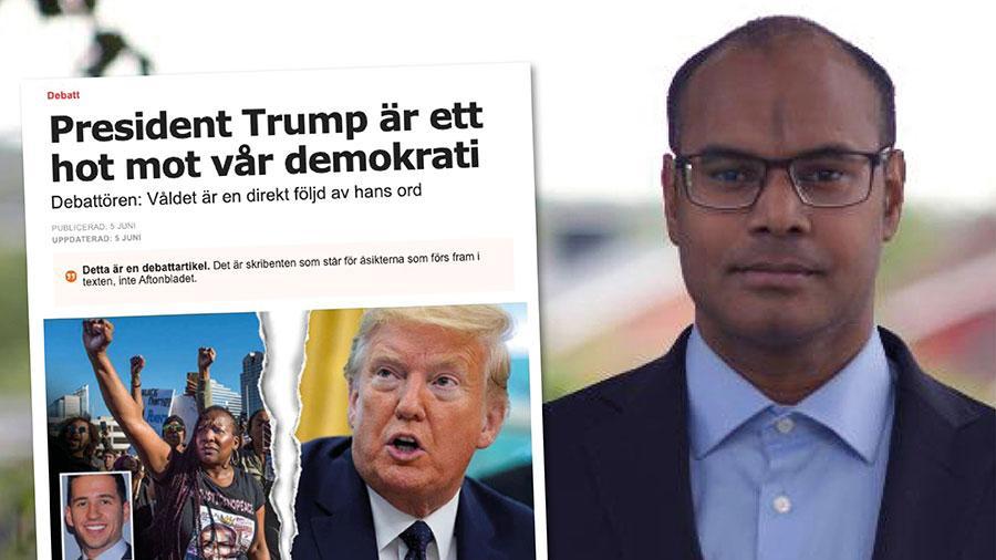 Vänsterliberaler och våldspöblar hotar den amerikanska demokratin, inte Donald Trump. Vad Trump gör är att försvara demokratin och försvara den amerikanska konstitutionen. Replik från Ronie Berggren.