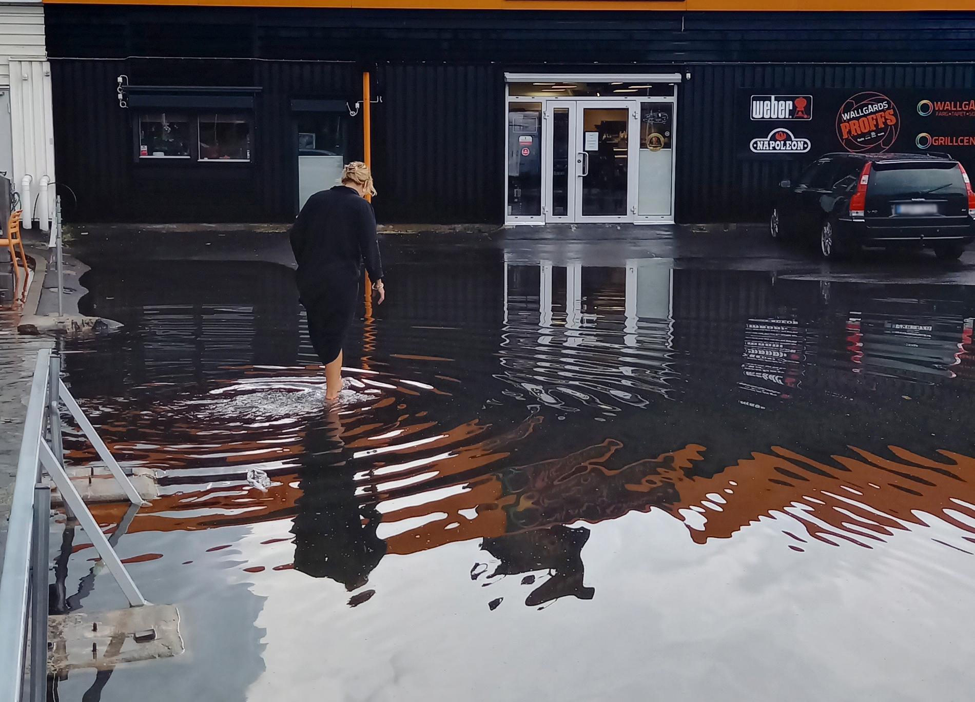 Översvämning i Kristianstad på onsdagen.