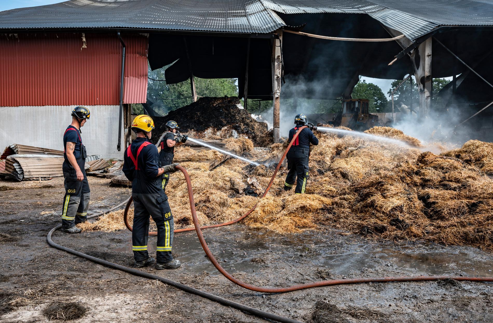 Räddningstjänsten släcker halm i en maskinhall i Björkeröd utanför Tollarp.