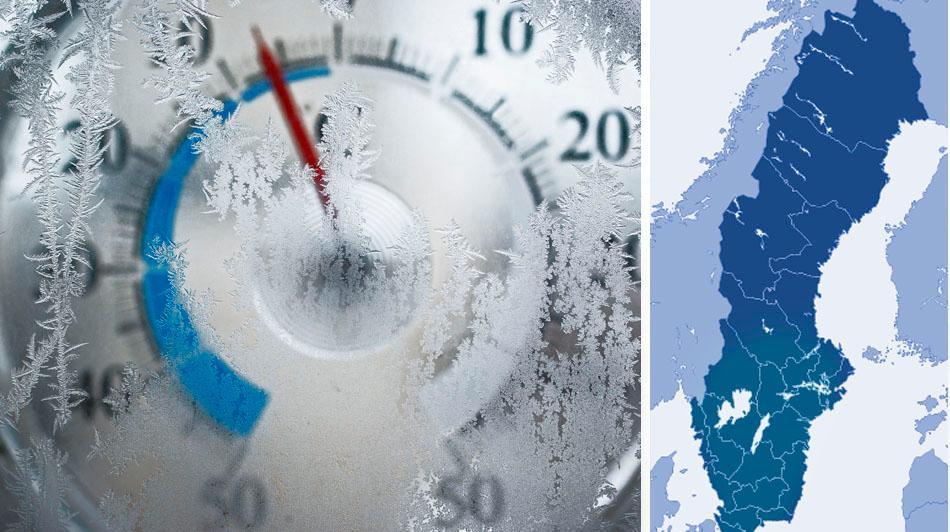 Köldchocken: Minusgrader i nästan hela Sverige