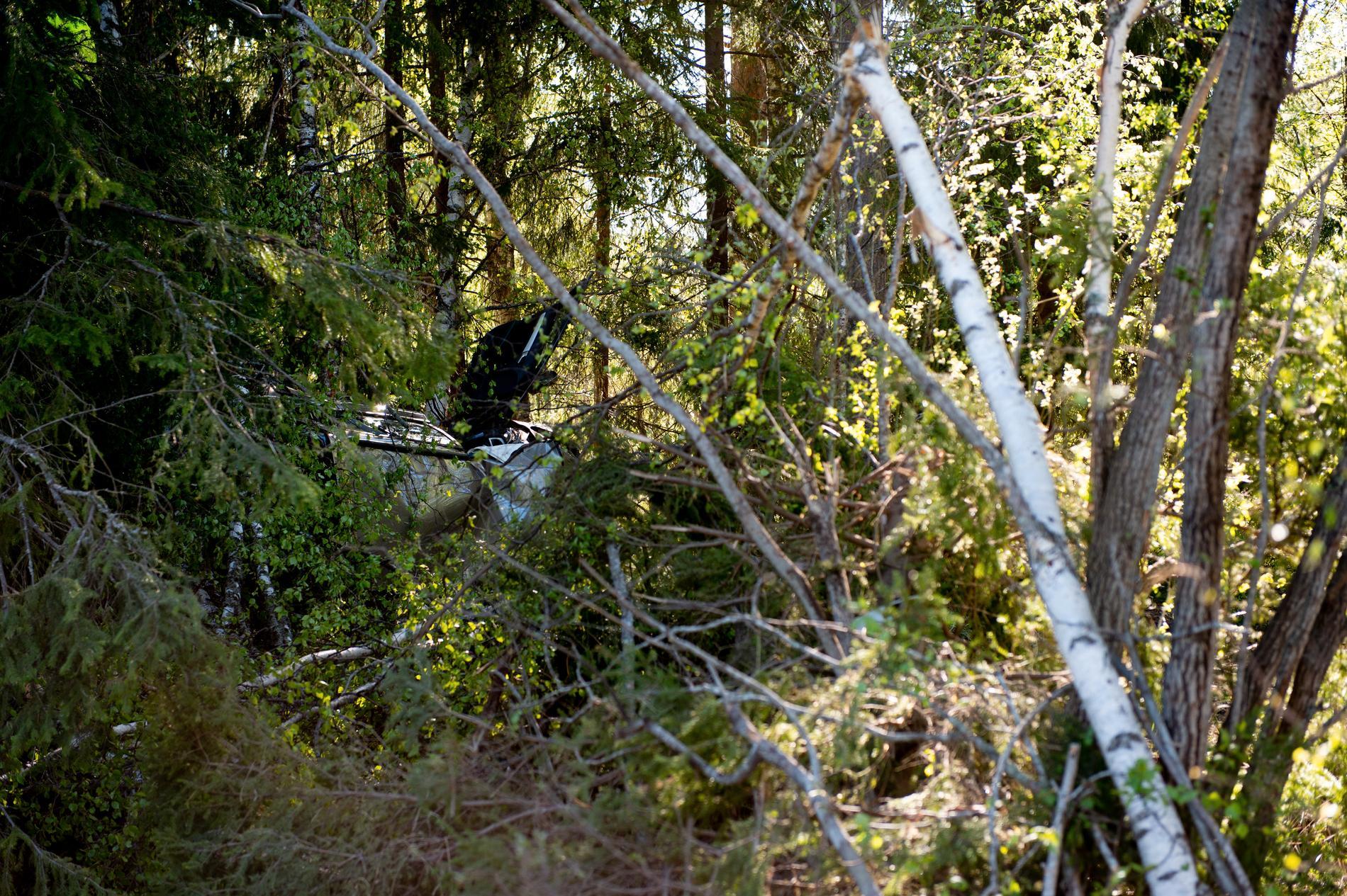 Vid tretiden i natt körde en bil av vägen och hamnade i skogen.