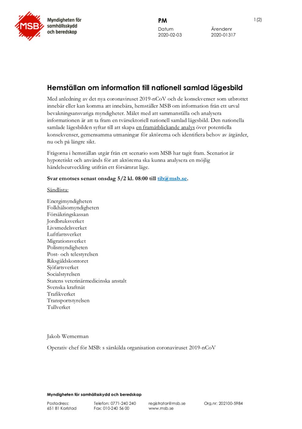 MSB:s hemställan om information till nationell samlad lägesbild
