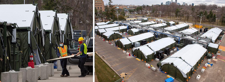 Fältsjukhus på en parkeringsplats utanför ett överfullt kanadensiskt sjukhus.
