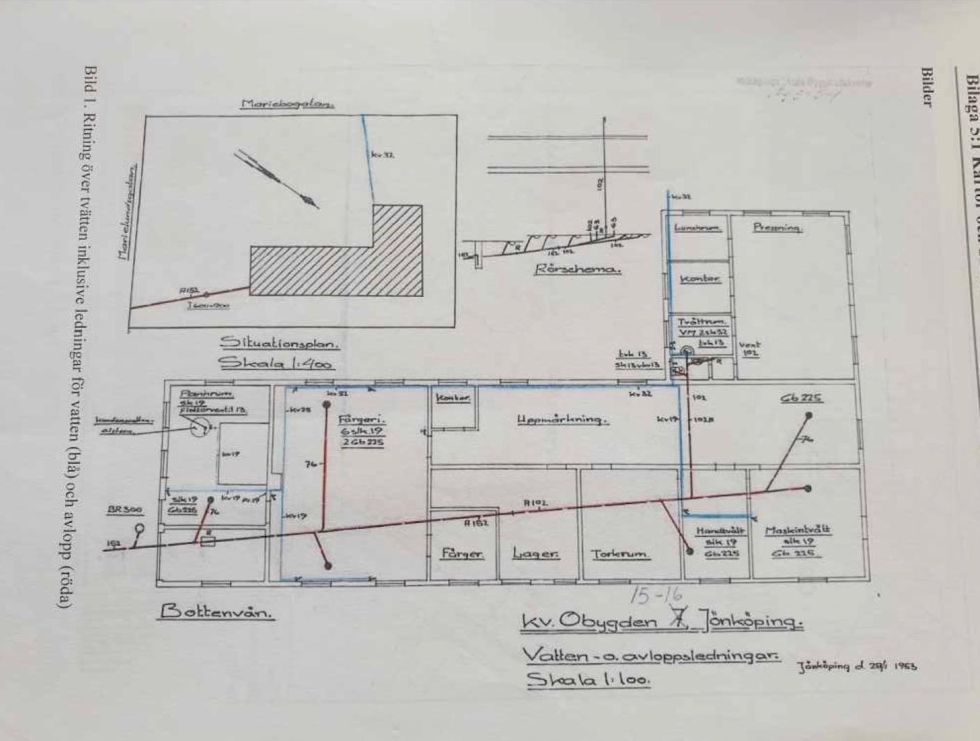 Ritning på den 330 kvadratmeter stora kemtvättsbyggnaden där verksamheten lades ner på 70-talet. Bilden är från en Länsstyrelsens utredning 2013, som Marie och Urban Wikander fick i brevlådan samma år.