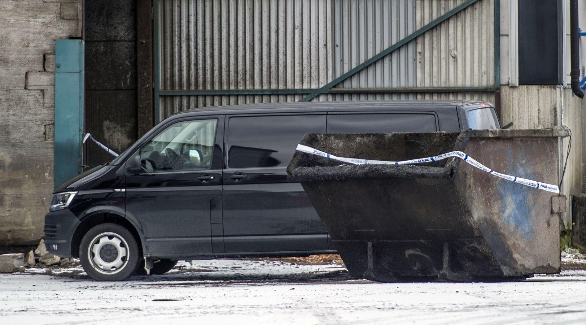 Det fordon som polisen undersökte i samband med polisens tillslag.