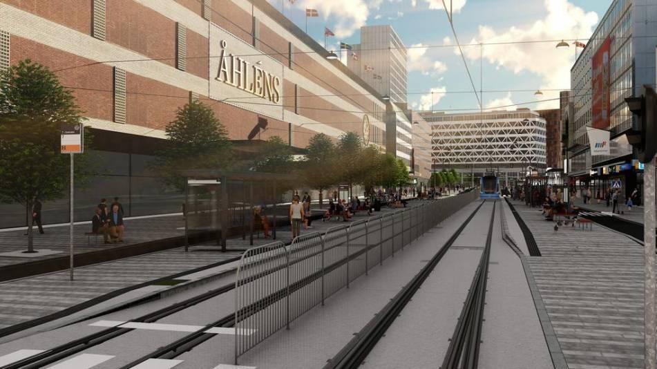 Så här är det tänkt att se ut när det nya slutstationen utanför Åhléns står klar.
