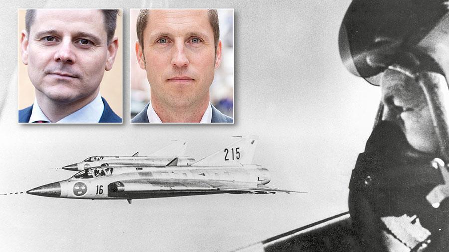 Två J35 Draken från F16 på 5 000 meters höjd över Uppland 1963. Med F16 får Uppsala chansen att återigen delta i försvaret av landet och huvudstadsregionen. Samtidigt skapas nya lokala arbetstillfällen när fler värnpliktiga ungdomar får upptäcka Uppsala, skriver Niklas Karlsson och Erik Pelling.