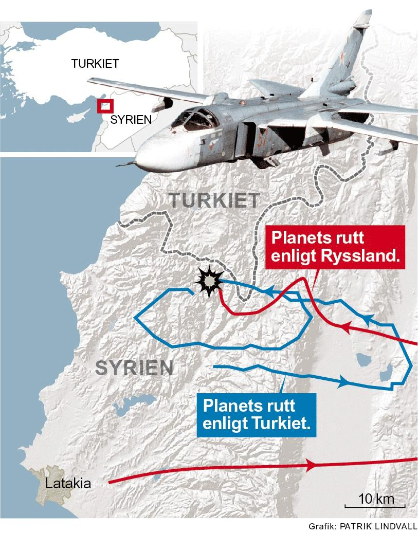 Var flög egentligen det ryska planet innan det sköts ner av Turkiet? De turkiska och ryska versionerna skiljer sig åt.