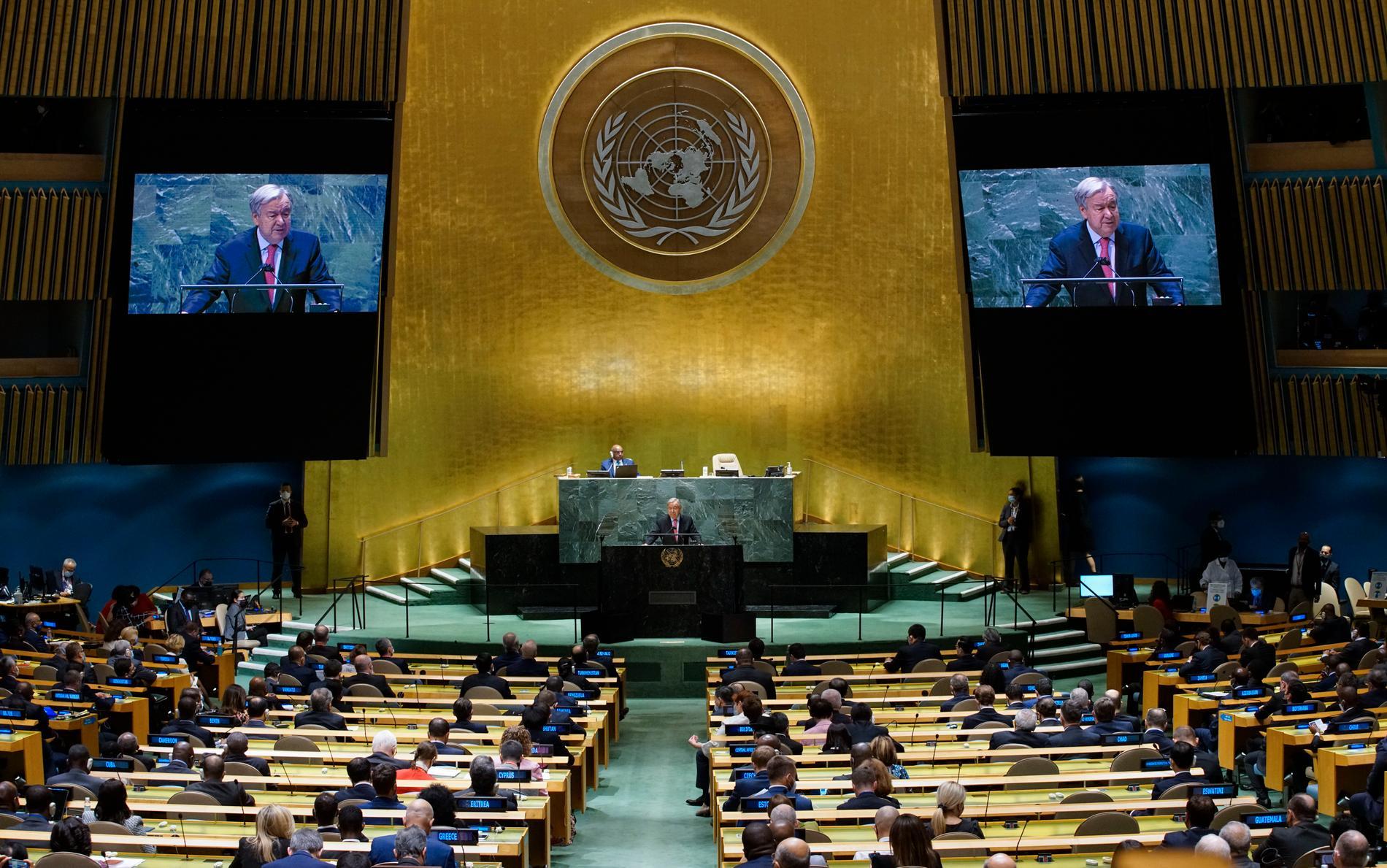 FN:s generalsekreterare António Guterres talade på tisdagen inför världsledarna i generalförsamlingen.
