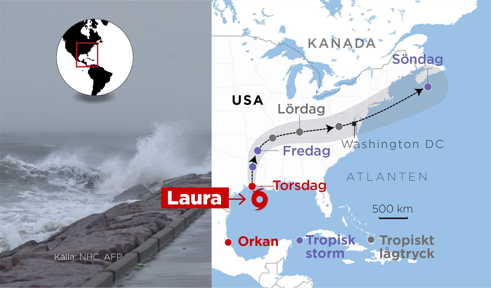 Orkanen Laura har nått land.
