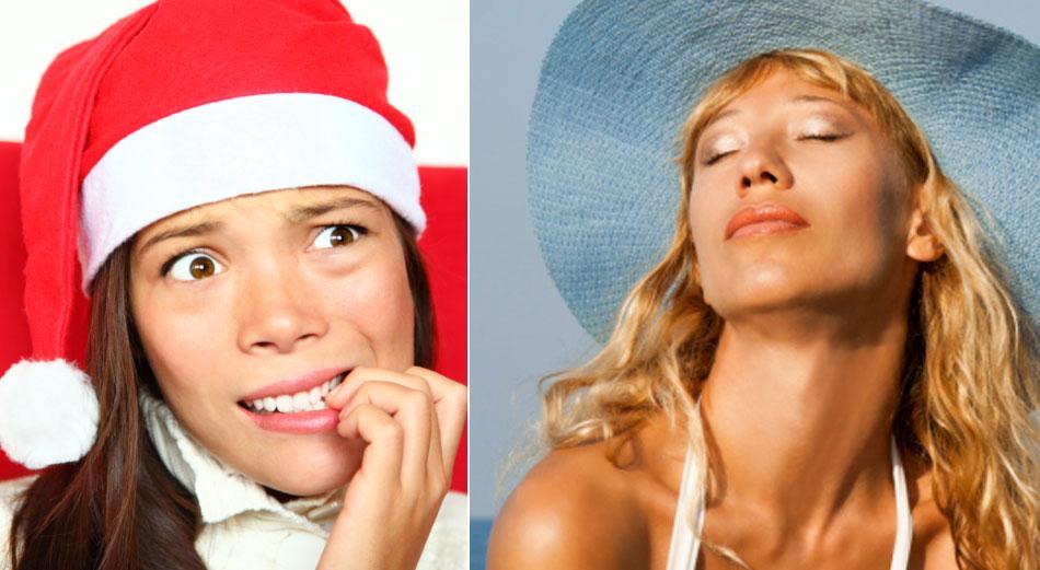 Stress vs. strandhäng I år är det extra fördelaktigt att skippa julstressen och resa bort. Både fly och sista minuten är billigt.