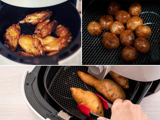 Kyckling och potatis går utmärkt att laga i en arifryer.