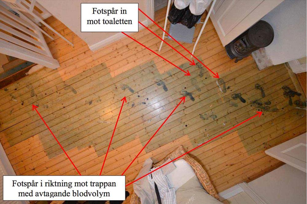 Mammans fötter gjorde blodiga avtryck på golvet när hon kraftigt blödande tog sig ned för trappan efter attacken.