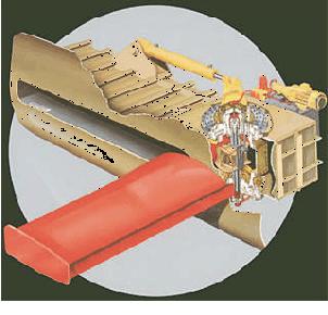 Fenstabilisatorerna kan fällas ut från fartyget vid storm för att fartyget ska gå jämnare i sjön.