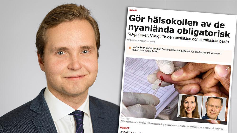 SD är beredda att tillsammans med KD, och andra likasinnade partier, driva igenom obligatoriska hälsokontroller för flyktingar i Region Stockholm – och sätta krav på januariregeringen, skriver Gabriel Kroon.